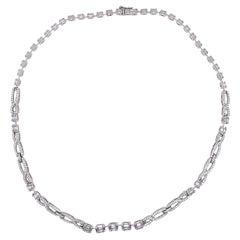4.00 Carat Emerald Cut Cluster Diamond Illusion Necklace