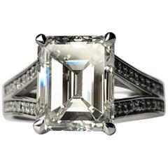4.00 Carat Emerald Cut White Diamond Engagement Ring J VS Certificated 18 Karat