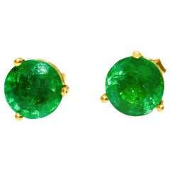 4.00 Carat Emerald Martini Style Pushback Studs in Yellow Gold