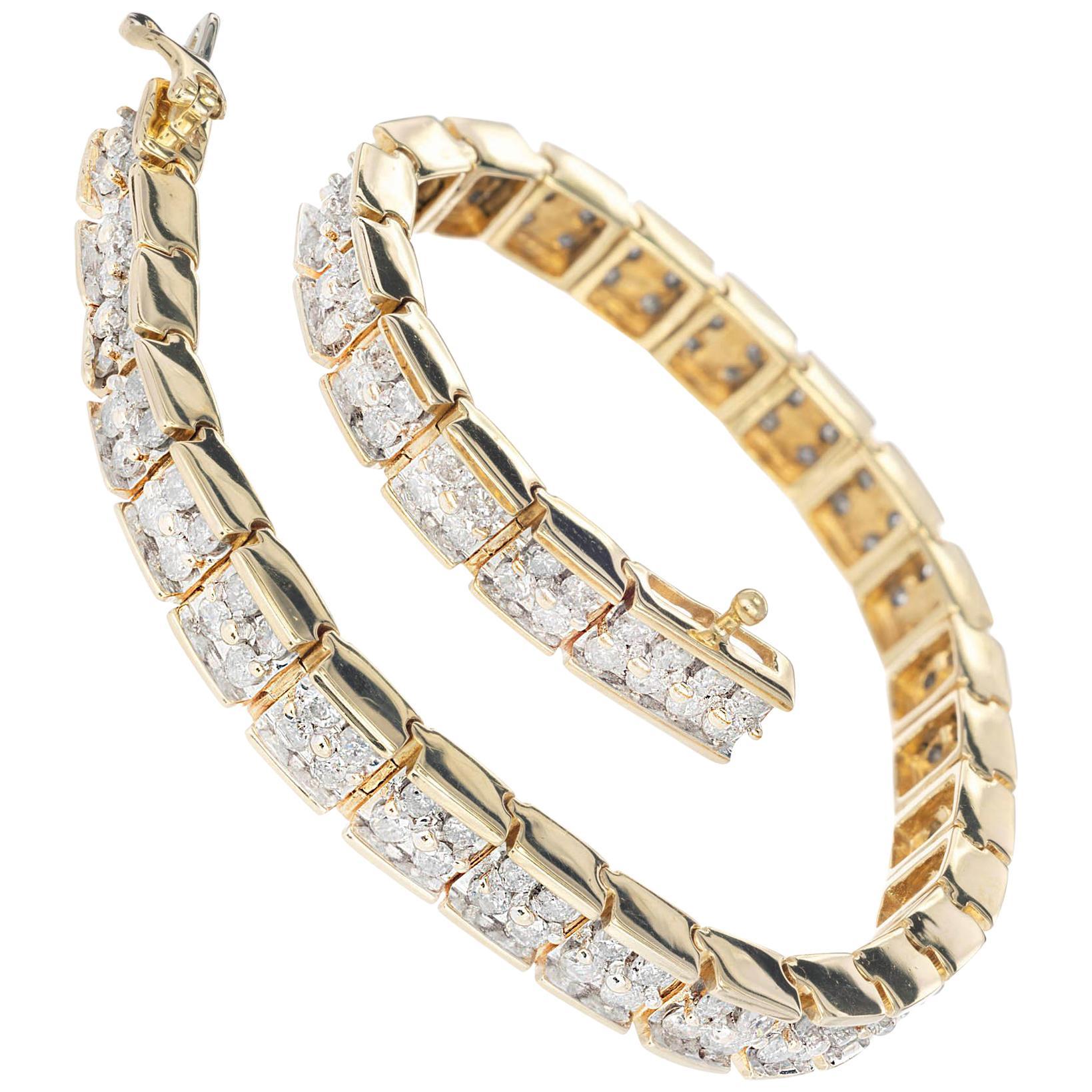 4.00 Carat Full Cut Diamond Two-Row Hinged Link Bracelet