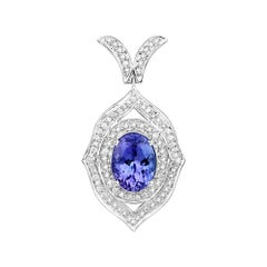 4.00 Carat Genuine Tanzanite and White Diamond 14 Karat White Gold Pendant