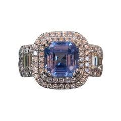 4.00 Carat GIA Sapphire Platinum Diamond Ring