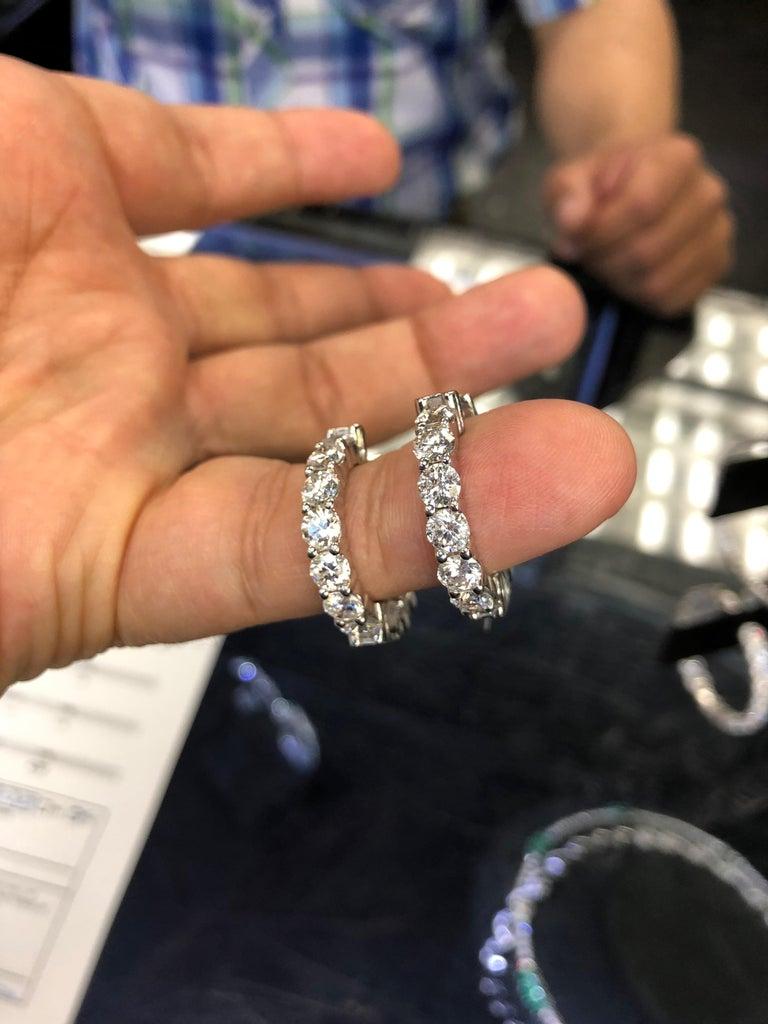 Round Cut 4.00 Carat Inside Out Diamond Hoop Earrings, 0.20 Carat Each