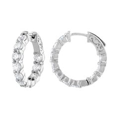 4.00 Carat Inside Out Diamond Hoop Earrings, 0.20 Carat Each