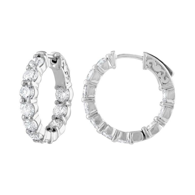 4.00 Carat Inside Out Diamond Hoop Earrings, 0.20 Carat Each