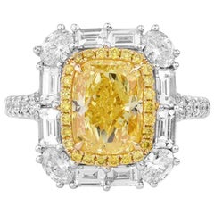 4.00 Carat Intense Yellow Diamond Ring