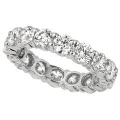 4.00 Carat Natural Diamond Eternity Band Ring G SI 14 Karat White Gold 16 Stones