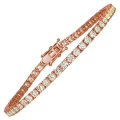 4.00 Carat Natural Diamond Tennis Bracelet G SI 14 Karat Rose Gold 62 Stones