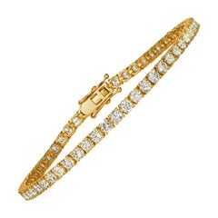 4.00 Carat Natural Diamond Tennis Bracelet G SI 14 Karat Yellow Gold 62 Stones