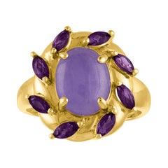 4.00 Carat Natural Lavender Jade Jadeite Amethyst Gold Ring