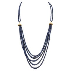 400 Carat Natural Sapphire Bead Five Strand Necklace with Diamond in 14 K Gold