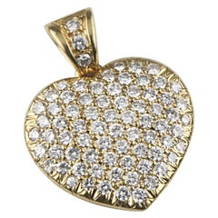 4.00 Carat Pave Diamond Heart 18 Karat Yellow Gold Pendant