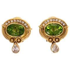 4.00 Carat Peridot and Diamond Gold Earrings Fine Estate Jewelry