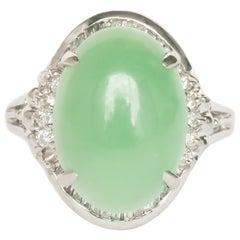 4.00 Carat Platinum Jade Engagement Ring