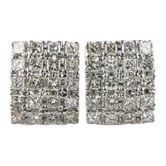 4.00 Carat Princess Cut Diamond 14 Karat White Gold Plaque Earrings