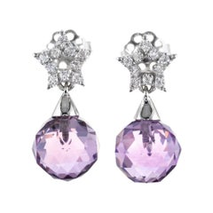 4.00 Carat Purple Briolette Amethyst Diamond White Gold Dangle Earrings