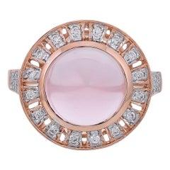 4.00 Carat Rose Quartz Diamond 18 Karat Rose Gold Ring