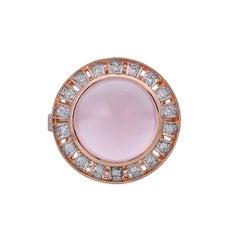4.00 Carat Rose Quartz Diamond 18 Karat Yellow Gold Ring