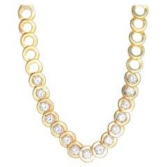 4.00 Carat Round-Brilliant Cut Diamond Chain 14k Yellow Gold Necklace