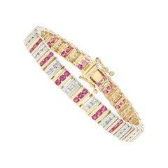 4.00 Carat Round Cut Ruby and Diamond Bracelet, 14 Karat Yellow Gold Link