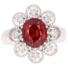 4.00 Carat Spessartine Diamond 14 Karat White Gold Cluster Ring