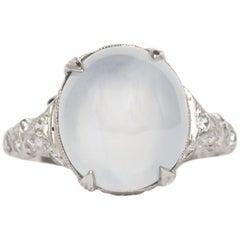 4.00 Carat Star Sapphire Platinum Engagement Ring