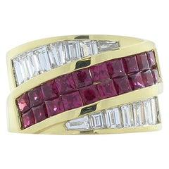4.00 Carat Total Princess Cut Rubies and Baguette Diamond Cocktail Ring