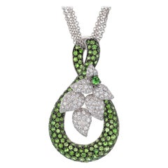 4.00 Carat Tsavorite Garnet Diamond White Gold Pendant Multi-Strand Necklace