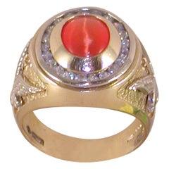4.00 Carat Yellow Gold Men's Diamond Orange Cats Eye Ring