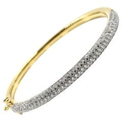 4.00 Carat Diamond Hinged Bangle Bracelet 18 Karat Yellow Gold