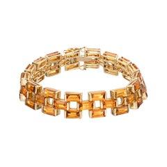 40.00 Carat Citrine Gold Three-Row Hinged Link Gold Bracelet