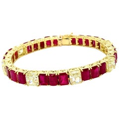 40.03 Carat Diamond and Ruby Bracelet 18 Karat