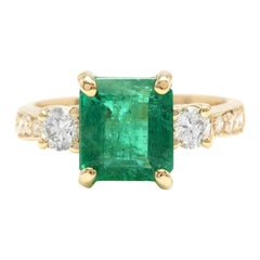 4.00ct Natural Emerald & Diamond 14k Solid Yellow Gold Ring
