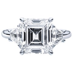 4.00ct Vintage Emerald Cut Diamond D VVS1 (GIA), 0.90ctw Trapezoid Diamond Ring