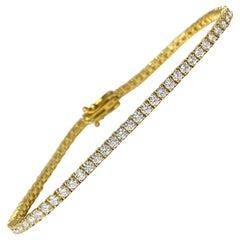 4.00ct VVS Diamond Tennis Bracelet in 10k Yellow Gold Unisex