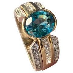 4.01 Carat Blue Zircon and Diamond Gold Ring