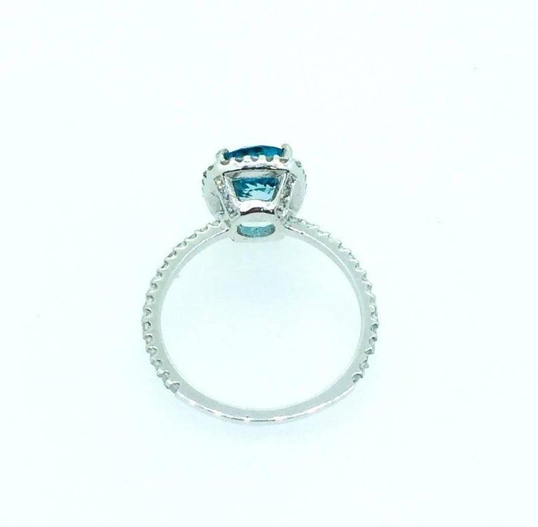 Contemporary 4.01 Carat Blue Zircon Diamond 14 Karat White Gold Bridal Ring For Sale