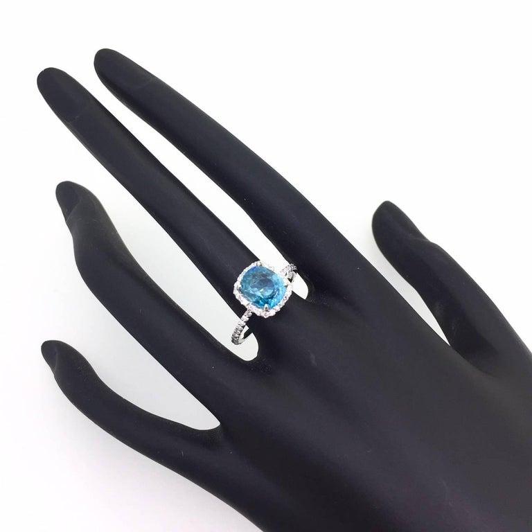 Cushion Cut 4.01 Carat Blue Zircon Diamond 14 Karat White Gold Bridal Ring For Sale