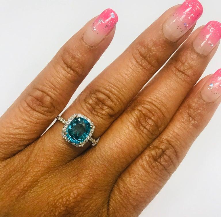 4.01 Carat Blue Zircon Diamond 14 Karat White Gold Bridal Ring In New Condition For Sale In San Dimas, CA