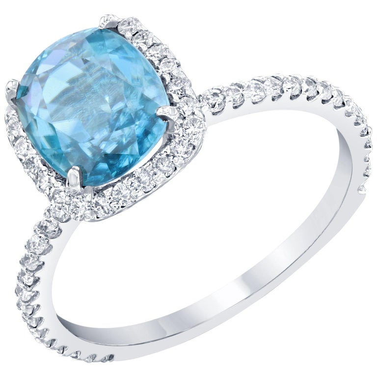 4.01 Carat Blue Zircon Diamond 14 Karat White Gold Bridal Ring For Sale