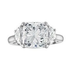 4.01 Carat Cushion Cut Diamond, GIA Certified HSI1 Set in 3 Stone Platinum Ring