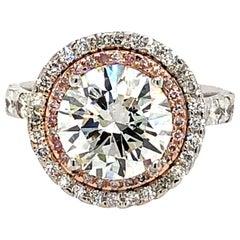 4.01 Carat Diamond with Pink Diamond Halo Engagement Ring 18 Karat Gold