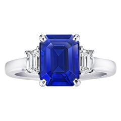 4.01 Carat Emerald Cut Blue Sapphire and Diamond Ring
