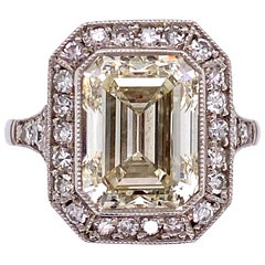4.01 Carat Emerald-Cut Diamond Platinum Cocktail Ring Fine Estate Jewelry