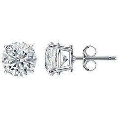 4.01 Carat F-SI Diamond Stud Earrings