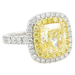 4.01 Carat GIA Certified Fancy Yellow Diamond Engagement Ring with 5.26 Carat