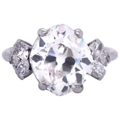 4.01 Carat Old Mine Rhombus Cut Diamond Ring