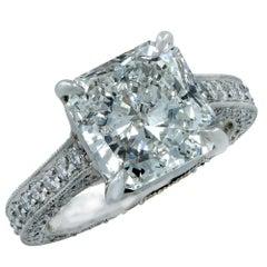 4.01 Carat Radiant Cut Diamond Ring