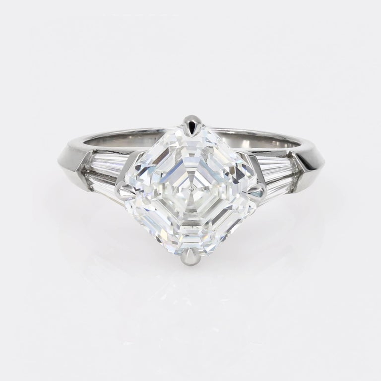 4 01 Carat Royal Asscher Cut Diamond Ring In Platinum Gia