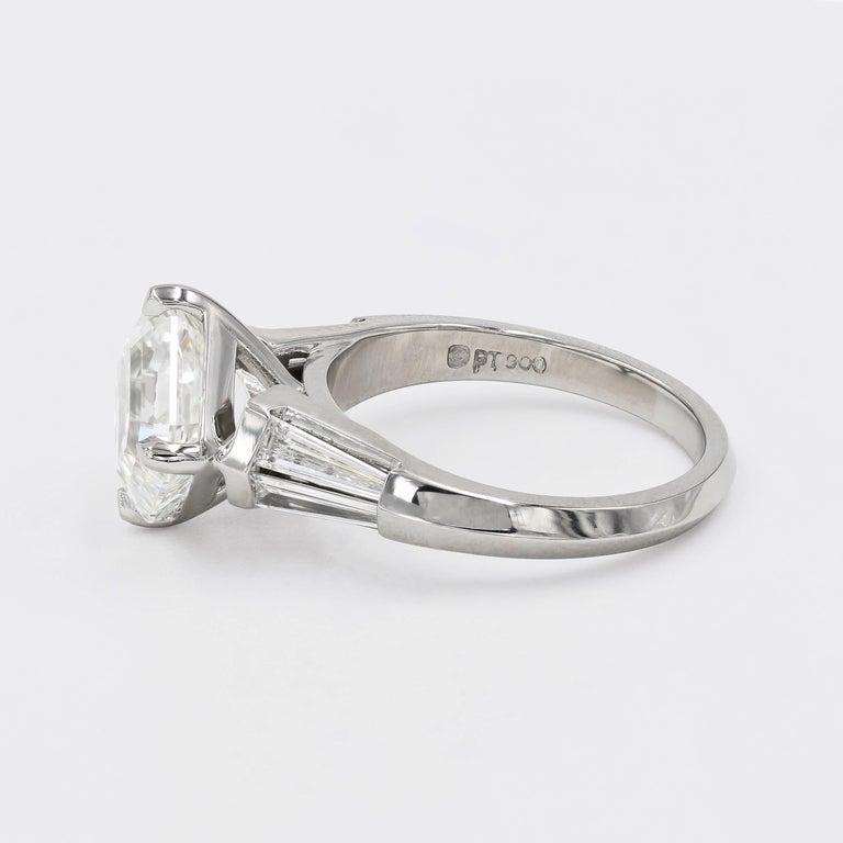 Women's 4.01 Carat Royal Asscher Cut Diamond Ring in Platinum, GIA Certified For Sale